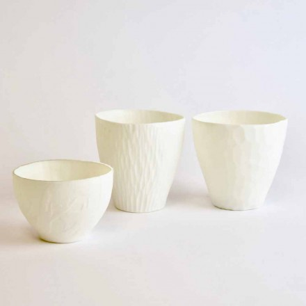 Design Candle Holder in Decorated White Porcelain 3 Pieces - Arcireale