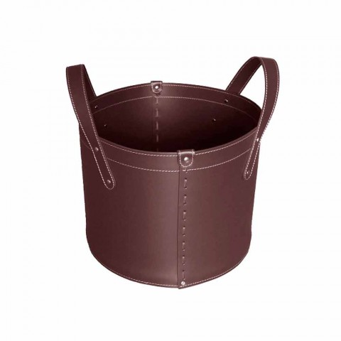 Cylindrical log holder in regenerated leather with Tonda Firestyle wheels
