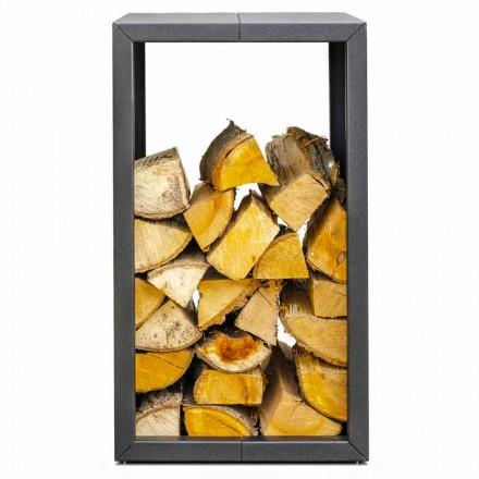 Outdoor or Indoor Firewood Holder, Black or Corten 45x45xH70 cm – Riviera