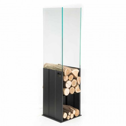 Internal Wood Holder Modern Design in Steel and Glass Made in Italy - Mistral