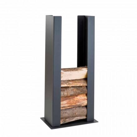 Floor / Wall Wood Holder in Black Steel with Column of Modern Design - Grecale