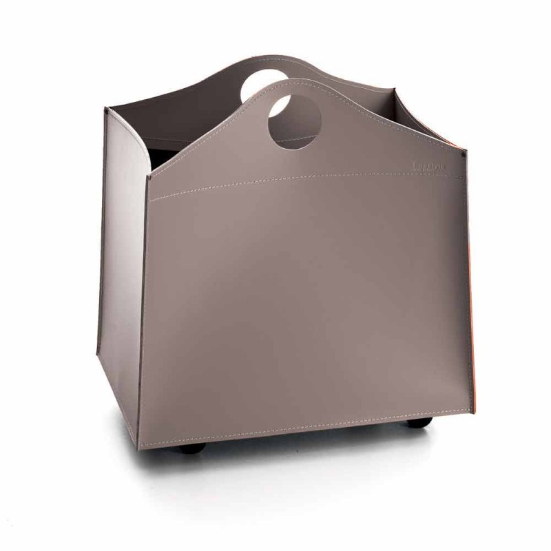 Design firewood holder in anthracite leather with WoodBag wheels