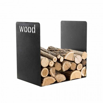 Modern Wood Holder in Black Steel Minimal Design with Engraving - Altano