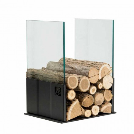 Indoor modern design steel log holder PVP made in Italy by Caf Design