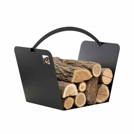 Indoor firewood carrier made of steel PLO, made in Italy by Caf Design