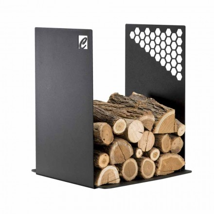 Modern Firewood Holder in Black Steel for Indoor Design - Scirocco