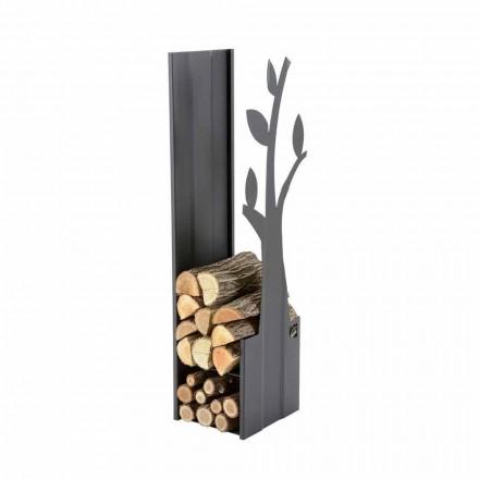 Decorative indoor log holder for fireplace made of steel PLV A