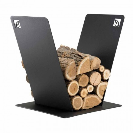Wood Holder for Fireplace Modern Design in Black Steel Made in Italy - Vespero