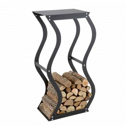Indoor modern design log holder made of steel ZIG ZAG, Made in Italy