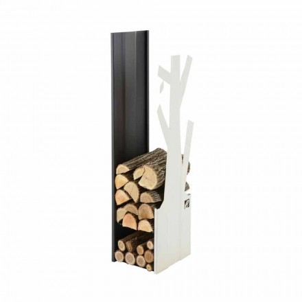 Designer indoor firewood holder made of steel PLVA-028, made in Italy