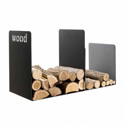 Double Wood Holder in Black Steel with Side Decoration Modern Design - Altano1