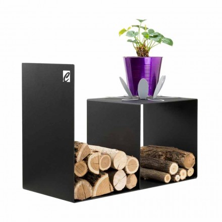 Modern Design Wood Holder with Indoor Table in Black Steel - Cecia