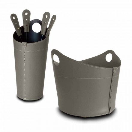 Firewood holder, iron holder and irons for Nicad leather, made in Italy