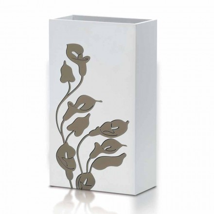 White Wood Umbrella Stand Modern Design with Floral Decorations - Caracalla