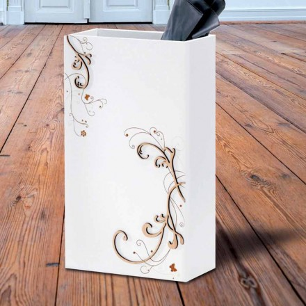 Modern Elegant Umbrella Stand in Dark or White Wood with Decorations - Poetry
