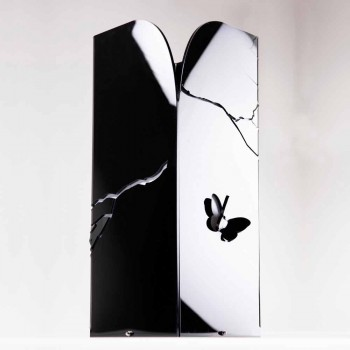 Black Plexiglass Umbrella Stand with 3D Engravings and Decorations, Modern Design - Farfo