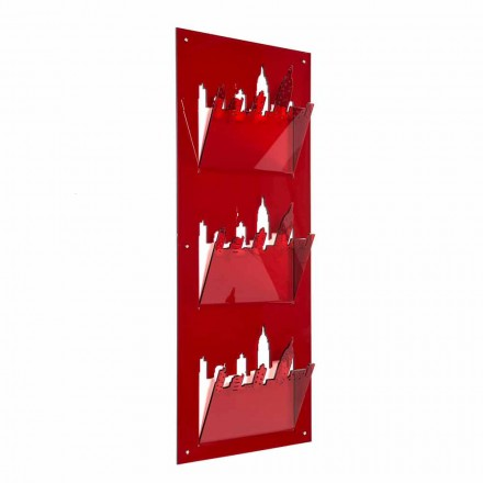 Wall Magazine Rack with Three Compartments in Plexiglass Made in Italy - Filarino