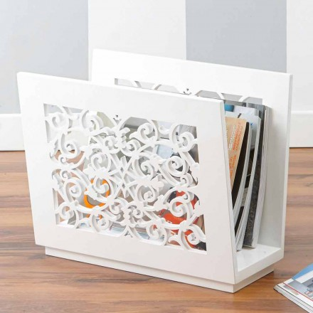 Floor Magazine Rack in Modern Colored Wood with Decors - Dubai