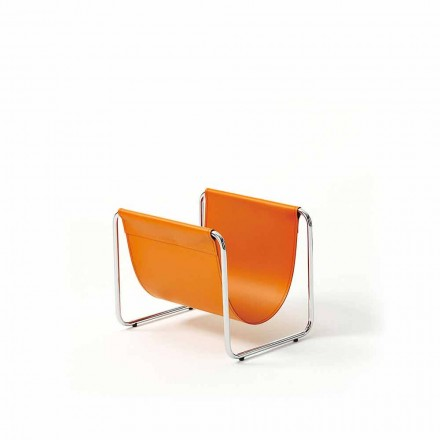 Design magazine rack in chromed steel and leather - Copperfied model