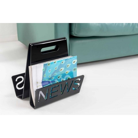 Black or Transparent Plexiglass Design Magazine Rack Made in Italy - Omar