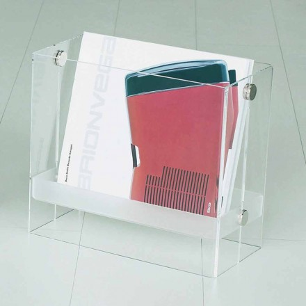 Modern design magazine rack Tanko, made of transparent methacrylate
