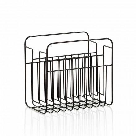 Modern Floor Magazine Rack in Matt Black Painted Metal Wire - Revised