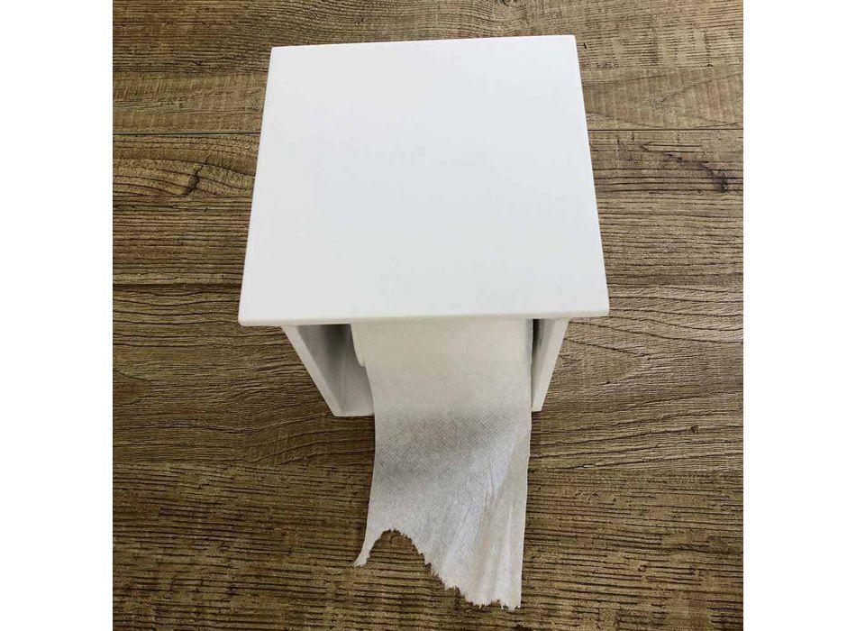 Bathroom Roll Holder in White Corian or with Black Inserts Italian Design - Elono