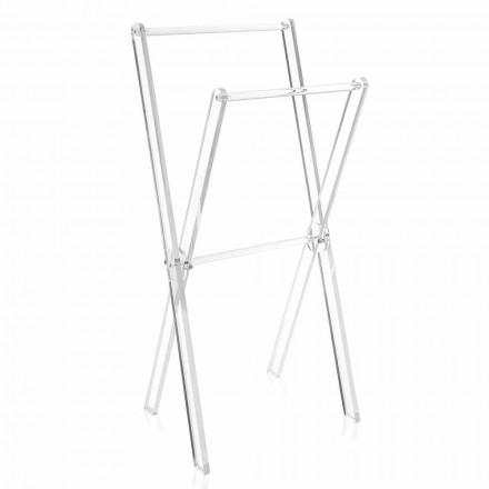 Design Floor Towel Rack in Transparent Plexiglass or with Wood - Stendio