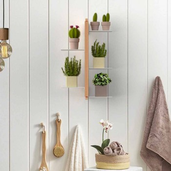 Zia Flora vertical suspended flowerpot holder made in Italy design wood