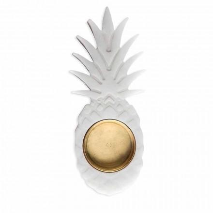 Pineapple Ashtray in White Carrara Marble Made in Italy - Cenna