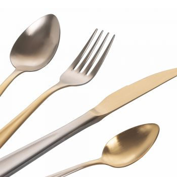 24-Piece Gold and Silver Gradient Matte Stainless Steel Cutlery - Posh