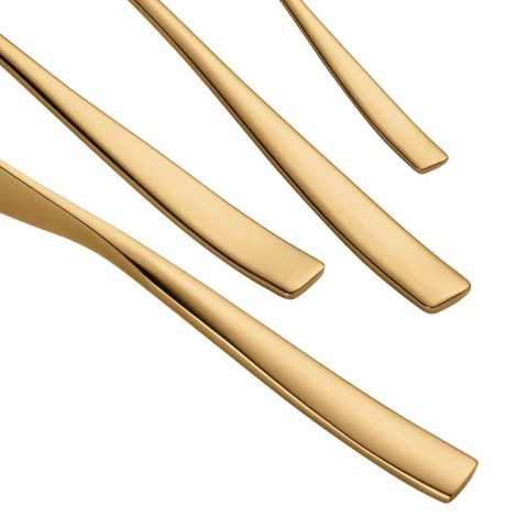 24 Piece Luxury Design Cutlery in Sandblasted or Colored Polished Steel - Timidy