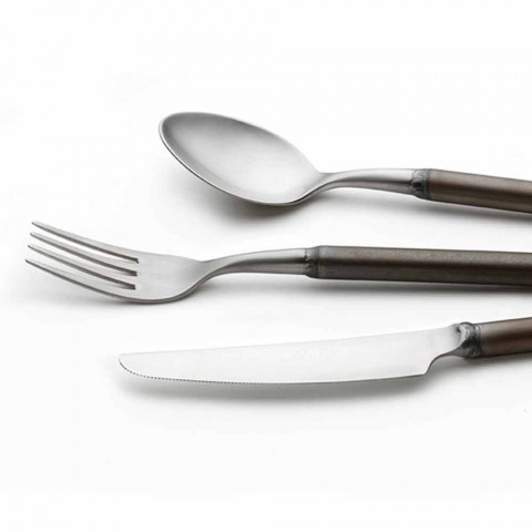 24 Piece Satin Steel Cutlery Italian Artisan Design - Damerino
