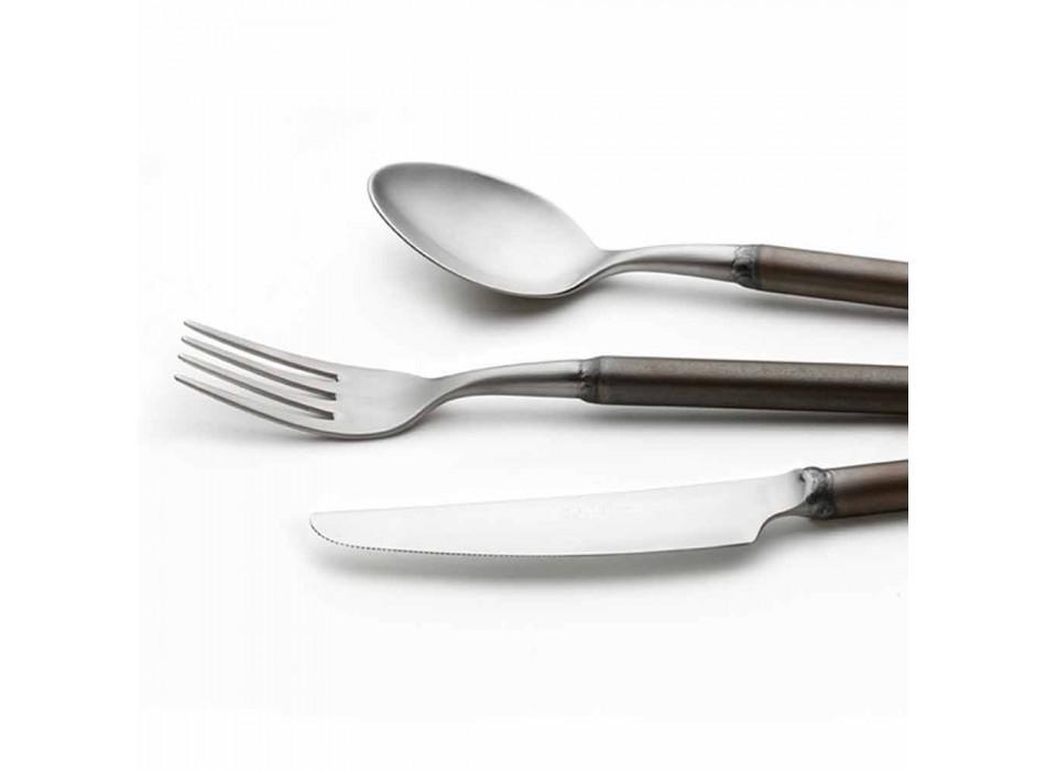 24 Piece Satin Steel Cutlery Italian Artisan Design - Damerino