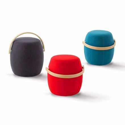 Pouf with colored handle in fabric, produced in Italy, Foligno