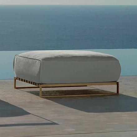 Outdoor pouf Casilda with stainless steel structure