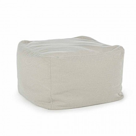 Square Outdoor Pouf Covered in Water Repellent Fabric, Homemotion - Lydia