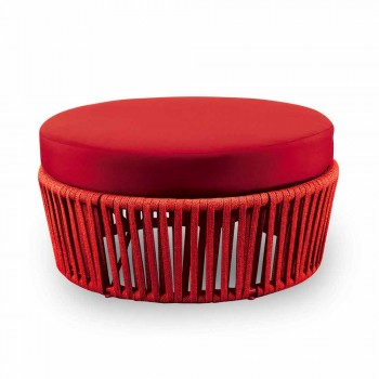 Colored Round Outdoor Pouf in Metal, Fabric and Rope Made in Italy - Orona