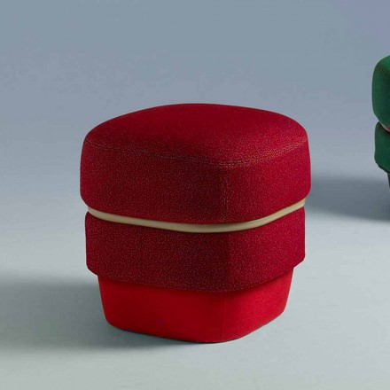 Living Room Design Pouf in Modern Colored Fabric Made in Italy - Chemise