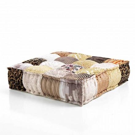 Ethnic Square Pouf in Patchwork Fabric or Velvet - Fiber