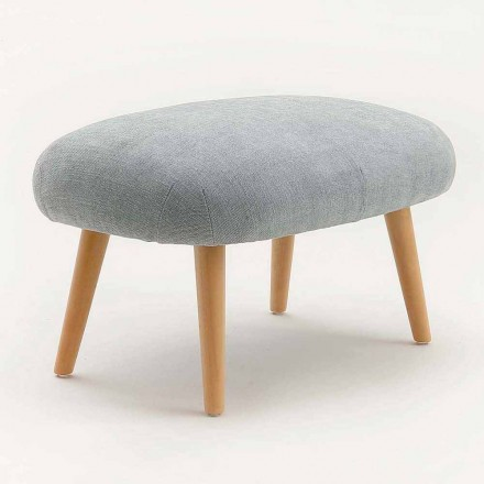 Modern design pouf in fabric with solid beech wood base Arezzo
