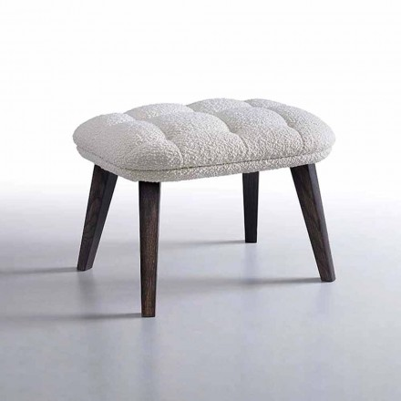 Design Pouf Covered in Fabric with Wooden Base Made in Italy - Clera