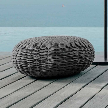 Large pouf and round Jackie by Talenti for outdoor in synthetic cord