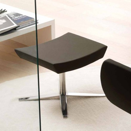 Modern office pouf in eco-leather and aluminium – Clio