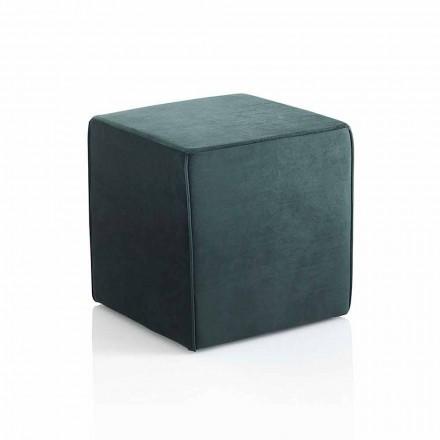 Modern Square Pouf Upholstered and Covered in Green Velvet - Fuffi