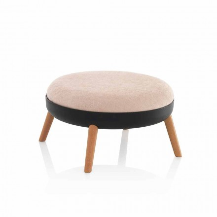 Modern Round Fabric Pouf with Pvc Base and Metal Legs - Ficus