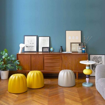 Colored soft pouf in polyurethane Slide Gelee, produced in Italy