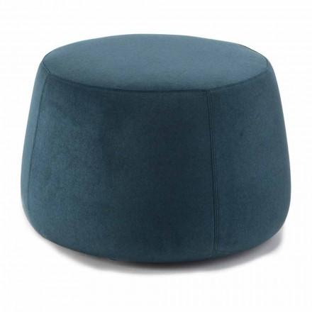 Soft Round Pouf for Living Room in Colored Velvet 3 Dimensions - Evelyne
