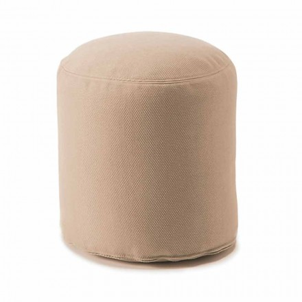 Soft Round Pouf for Indoor or Outdoor Living Room in Colored Fabric - Naemi
