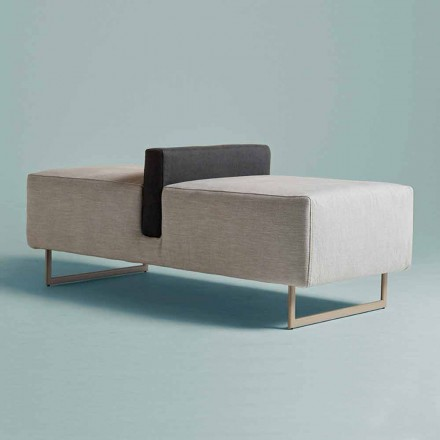 Pouf 2 or 3 Seater Bench with Cushion in Italian Modern Design Fabric - Wave